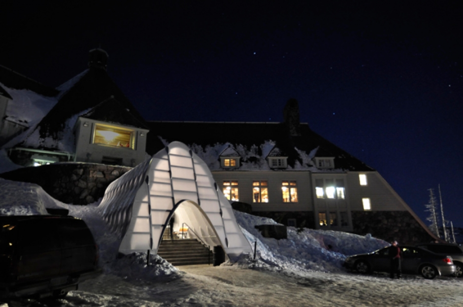 New Winter Entrance to Oregon's Historic WPA-Built Timberline Lodge