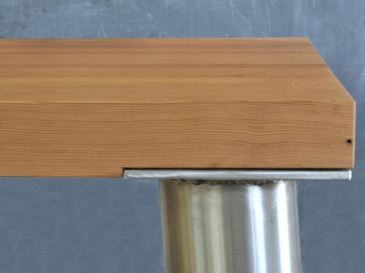 Conference Table – recycled laminated 2x (actual) doug fir top and polished 4″ stainless steel legs- 13'w x 3.5'd x 32″h