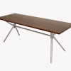 Dropleaf table – Walnut top and glass bead blasted folding stainless tube frame – 72″w x 34″d x 31″h