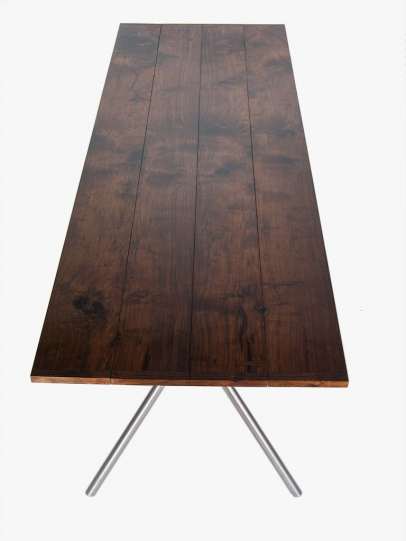 Dropleaf table – Walnut top and glass bead blasted folding stainless tube frame- 72″w x 34″d x 31″h