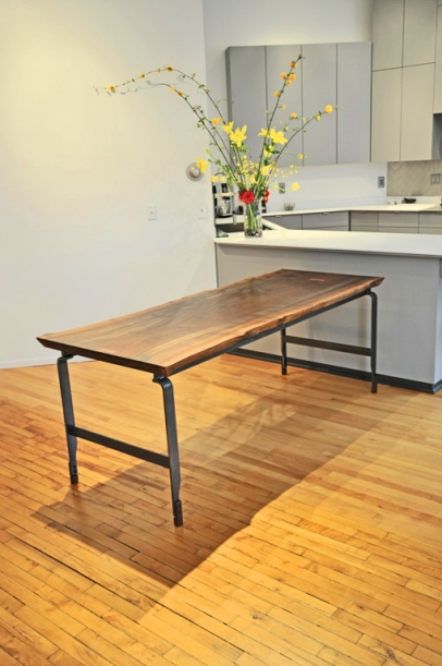 Book matched live edge walnut slab top with clear coated steel legs – 72″w x 32″d x30″h