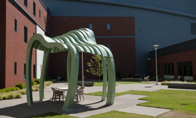 """One of our largest public art projects to date, the Oregon State Hospital sculpture series, """"Sheltering Landscapes"""", is installed."""