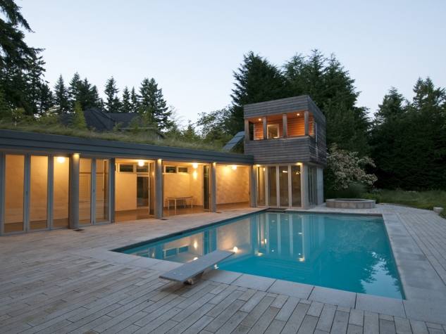 Longhouse pool and pavilion