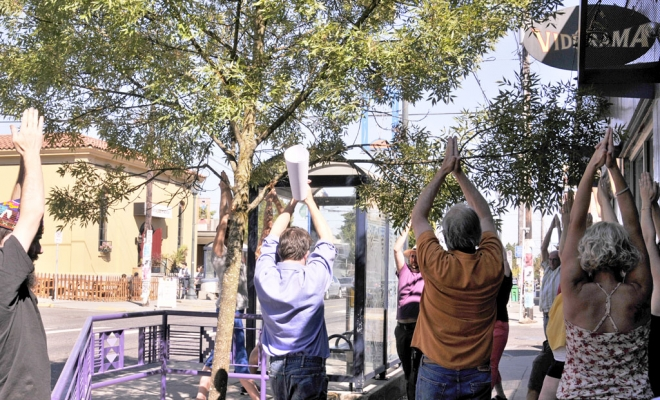 After completing the design, fabrication and installation of a public art series on Alberta Street, local businesses hosted a dedication ceremony.