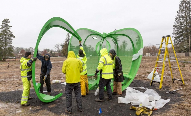 Our new artwork for OWNP Orenco Woods Nature Park is now installed ! Thanks to all great folks at City Of Hillsboro for all their help and good spirits on a cold wet muddy day ! It was thrilling to finally see the Apple sculpture in its full context, resting […]