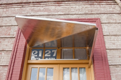 Stainless Steel Awning – 2 parts break formed and bolted  together (no welding)