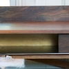 Work Desk – solid walnut top & drawers with clear coated steel supports & legs.