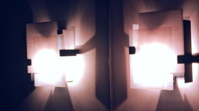 Wall Mounted Lights- Fused Glass Shade w/ Steel Support & LED fixtures.